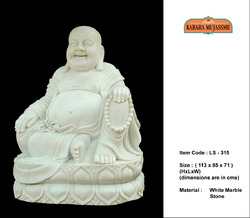 Laughing Buddha Pure Marble White Sculpture