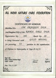 10. All India Nature Cure Federation Certificate