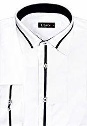 Cairon White Self Pattern Clubwear Shirt