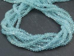 Aquamarine Faceted Rondelle Beads Strands