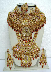 Red Color Bridal Lengha Choli Jewelry Necklace Sets