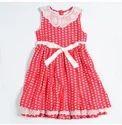 Red & Ecru Polka Crepe Dress
