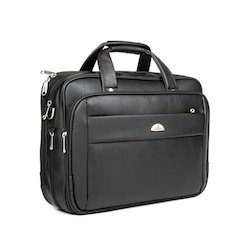 Black Office Leather Laptop Bag, Capacity: 10- 12 L