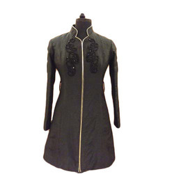 Full Sleeve Georgette High Neck Black Ladies Jacket