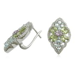 Silver Gemstone Stud Earrings