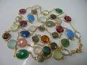 Nanplanetsilver Sterling Silver Gemstone Gold Plated Bezel Set Necklace