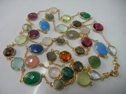 Gemstone Gold Plated Bezel Set Necklace