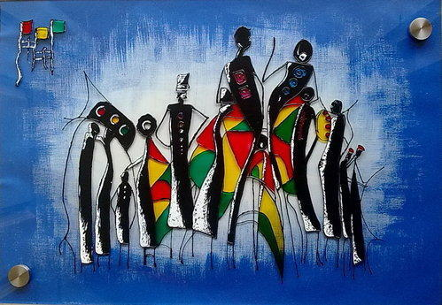 Modern Style Wall Decor Africian Custom Glass Painting - Feathers ...