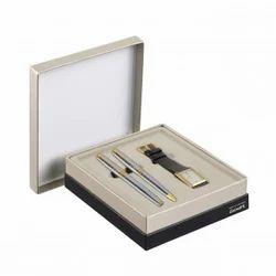 Parker Ambient Shiny Chrome Gt Pen Set + Parker Golden Watch