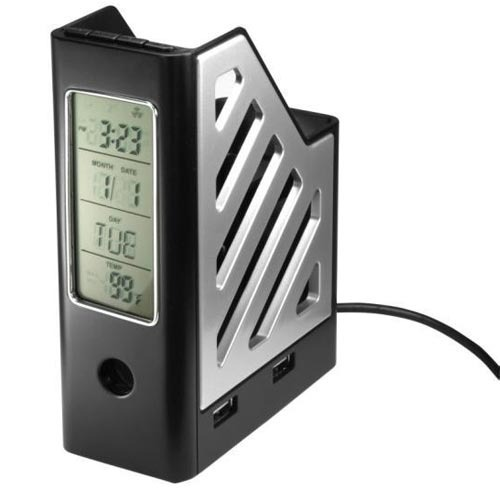 Executive gifts business card holder with 4gb usb drive pen phone holder 4 port hub with lcd clock reheart Gallery