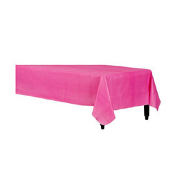 Pink Vinyl Table Cover Flannel Backed 52x90