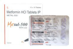 500 Mg Metformin Tablet, Packaging Size: 10x10 Tablets, for Clinical
