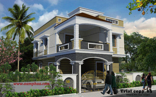 Exterior Front Entrance Design Ideas In Koyambedu, Chennai