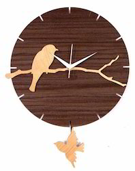 Bird Branch Wooden Pendulum Clock