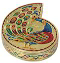 Golden Meenakari Peacock Designed Decorative Box, Size: 7x5.5x1.75
