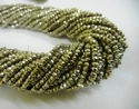 Silver Brown Pyrite Faceted Rondelle 3-4mm Beads Strand