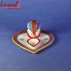Red And Blue Marbel Ganesha Puja Thali of Various Designs, Packaging Type: Poly Bag, 6.5 Inch