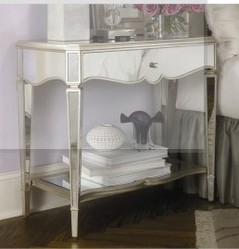 Luxury Home Mirrored Nightstand In Silver Leaf