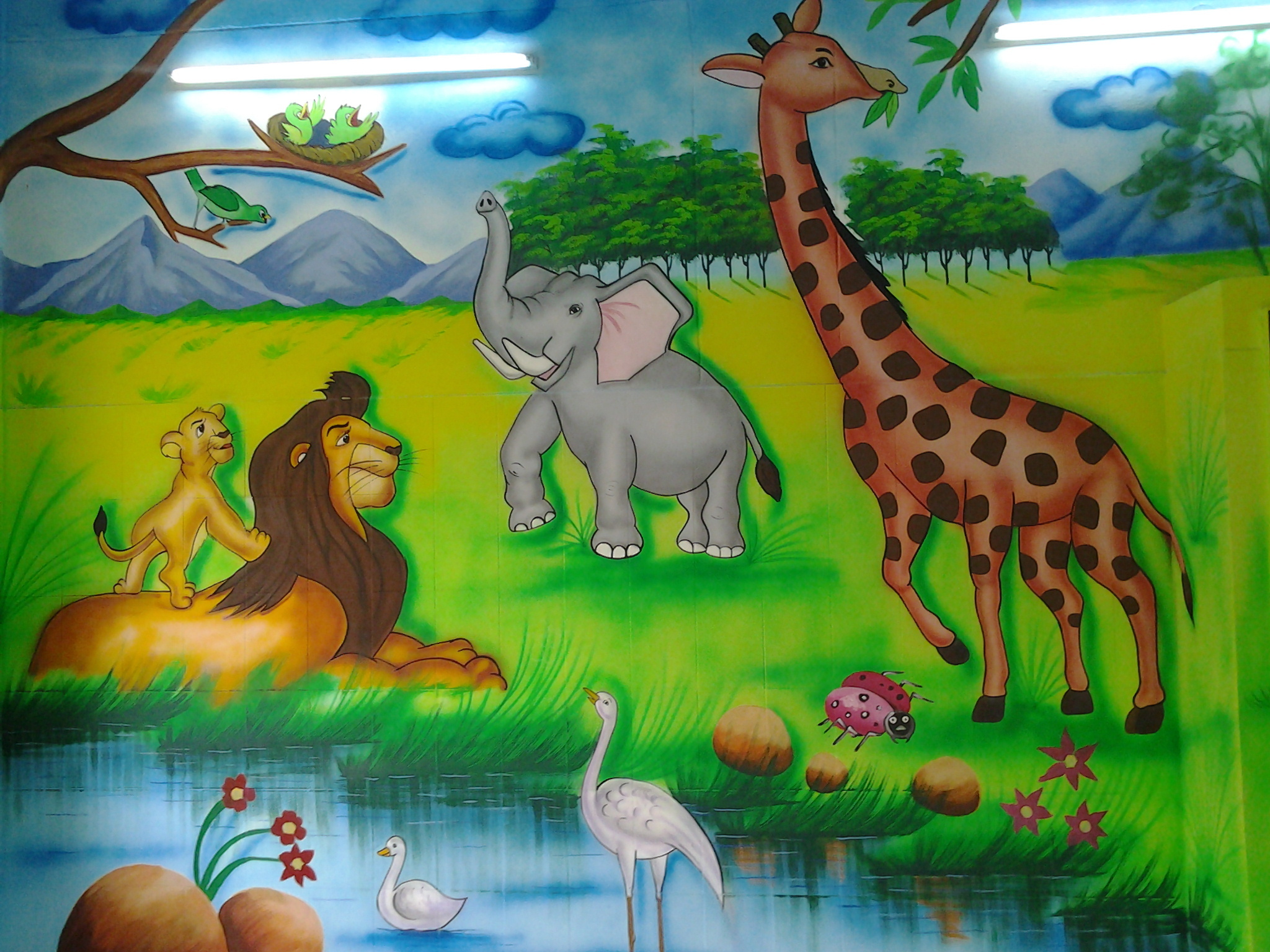 Theme Jungle 3d jungle theme painting service in shahdhra, delhi, play school art