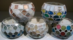Small Round Mosaic Glass Candle