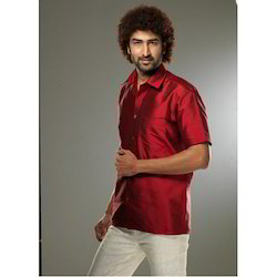 Red Mens Silk Shirt