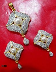 Pearl and Cubic Zirconia Pendant Set