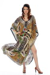Digitally Printed Silk Crepe Kaftan