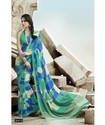 Attractive Sea Green & Blue Color Georgette Printed Saree