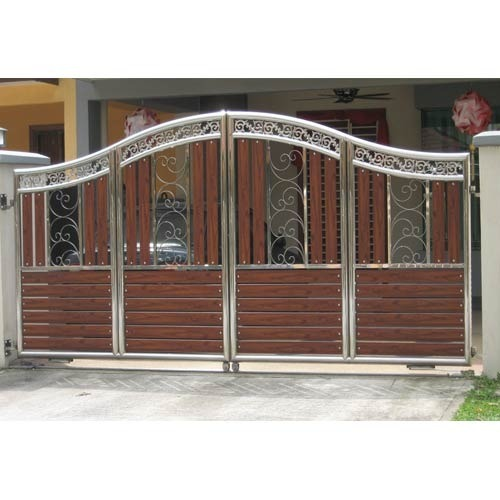 Stainless Steel Modern House Gate Designs: SS Wooden Gate, Ss Gate, Stainless Steel Darwaja, स्टेनलेस