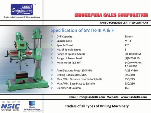 SMTR- III A&f Radial Drilling Machine - Siddhpura Machine