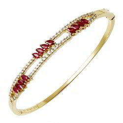 Sleek Ruby Bangle Bracelet