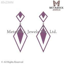 Pave Setting Ruby Gemstone Rhombus Design Earring