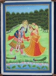 Cloth Radha Krishna Canvas Painting