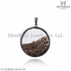 Pave Diamond Crystal Pendant