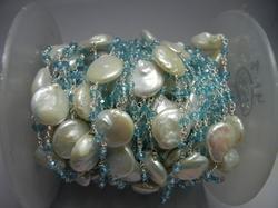 Blue Topaz Quartz Gemstone Beaded Chain With Pearl Coin