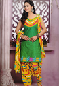 Green And Yellow Salwar Suit