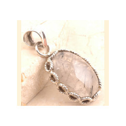 Quartz Pendant in 925 Sterling Silver Black Rutilated Quartz