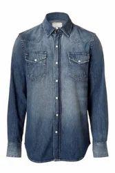 Plain Casual Denim Shirts