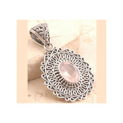Rose Quartz in 925 Sterling Silver Pendant