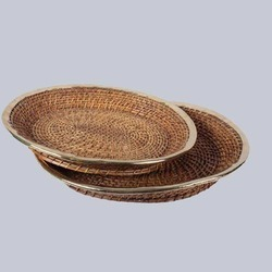 Wicker Oval Flat Tray, Size: 15, 20size: 10 Inches