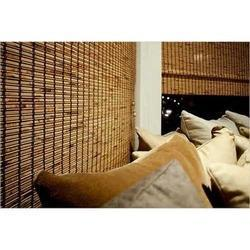 Brown Vertical Bamboo Roll Up Blind