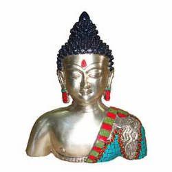Buddha Bust W/Stones Silver Finish