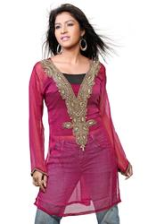 Pink Full Sleeves Kurti