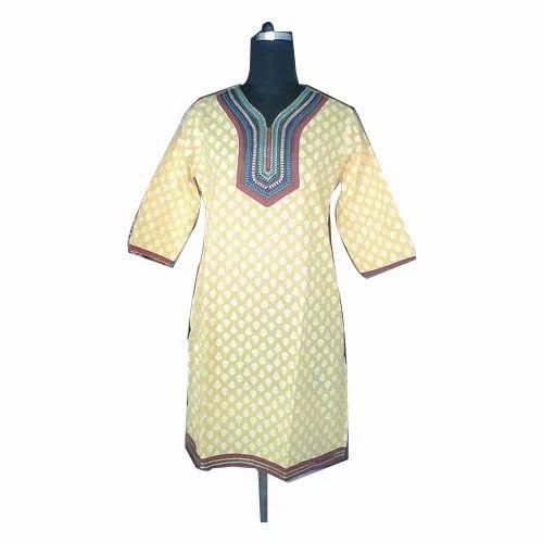 Cotton Casual Wear V Neck Printed Kurti, Machine wash, Size: S-XXL