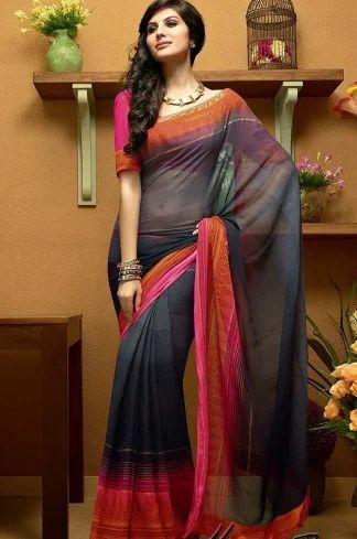 019d99cfe7 Black Georgette Saree, Sarees, Lehenga And Salwar Suits | Meena ...