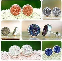 Druzy Sterling Silver Gemstone Earring Stud