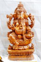 Lord Ganesha Wooden Statue 1 1/2 feet