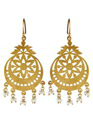 Gold Plated Chand Balis with Pearl
