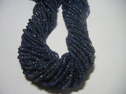 Iolite Gemstone Faceted Rondelle 3-4mm Beads Strands