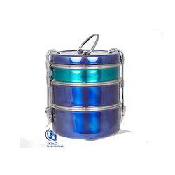 Blue Lid Steel Tiffin